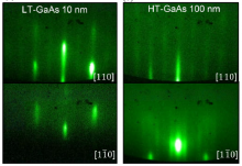 RHEED patterns of (a) 10 nm thick LT-GaAs layer and (b) 100 nm thick HT-GaAs layer on GaP/Si substrate.